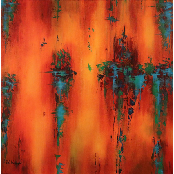 "Positivity. Acrylic Painting – 36"" x 36"" $3,200 Abstract by Artist Ed Waugh"