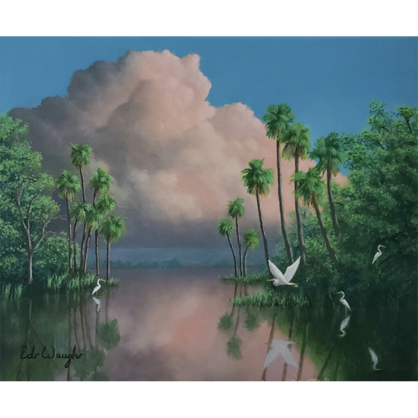 """Backwater Serenity-Acrylic Painting on Stretched Canvas 20""""x16""""-by Artist Ed Waugh"""