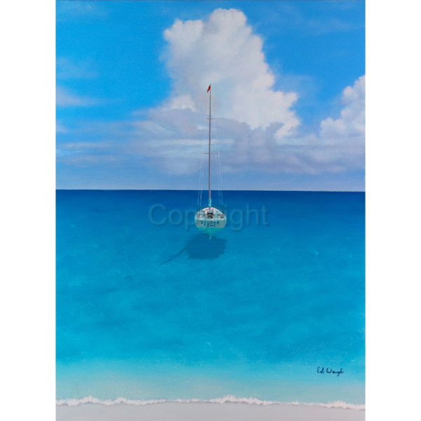 "Island Time-30""x40""-Acrylic Painting on Stretched Canvas by Artist Ed Waugh"